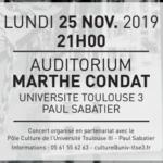 Université Paul Sabatier – Auditorium Marthe CONDAT – 25 novembre 2019